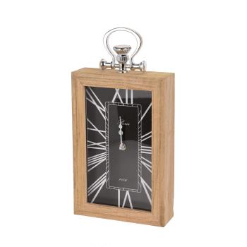 Ceas de masa, cadru lemn si agatatoare, negru