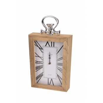 Ceas de masa, cadru lemn si agatatoare, alb