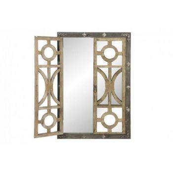 Oglinda din lemn antichizat, cu obloane, Vintage