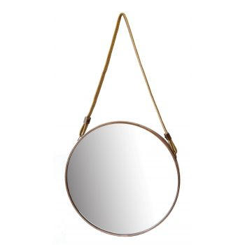 Oglinda cadru metalic, cu agatatoare cordon iuta
