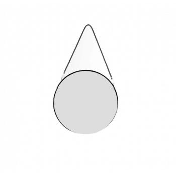 Oglinda rotunda, cadru metalic negru, cu agatatoar