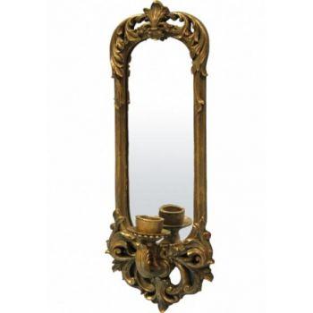 Oglinda perete cu suport de lumanare, auriu antic,