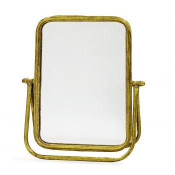 Oglinda de masa, cadru metalic auriu, 37x33 cm