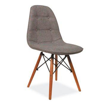 Scaun dining Adam, textil, gri, picioare lemn