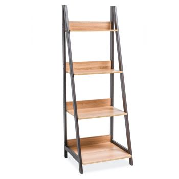 Suport rafturi lemn, cadru metalic, 147x52 cm