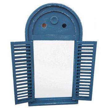 Oglinda cadru lemn antichizat,cu obloane,albastru