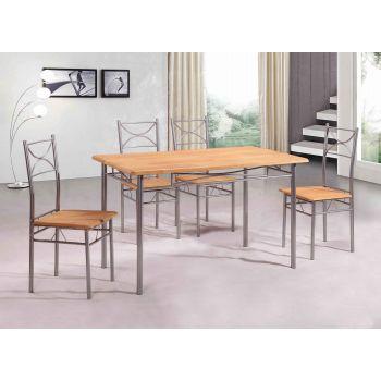 Set masa Vera cu 4 scaune, natur