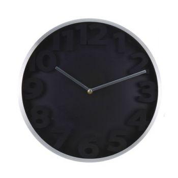 Ceas de perete cadru aluminiu, fundal alb/negru