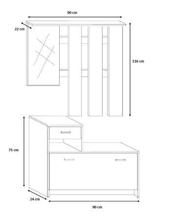 Set mobilier hol Filio, stejar alb cu uși albe