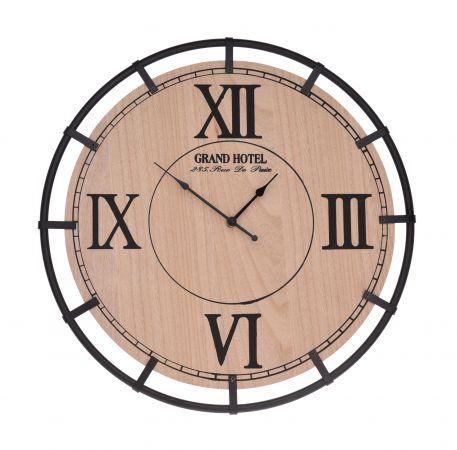 Ceas perete lemn, cadru metalic, diametru 40 cm