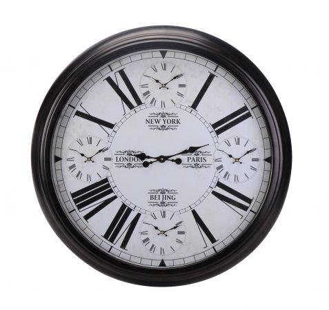 Ceas metalic de perete,4 fusuri orare,diametru 93